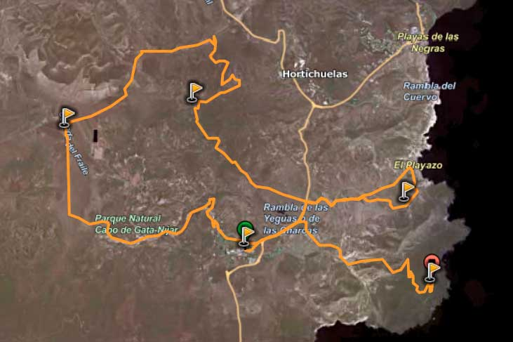 Mapa ruta El valle de Rodalquilar a través de Carmen de Burgos