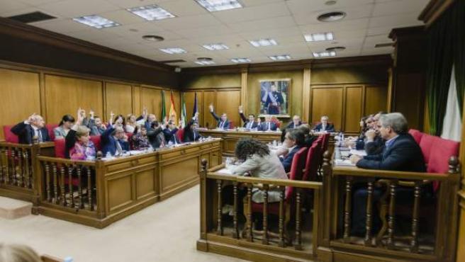 Imagen de archivo de un pleno presencial en la Diputación de Almería