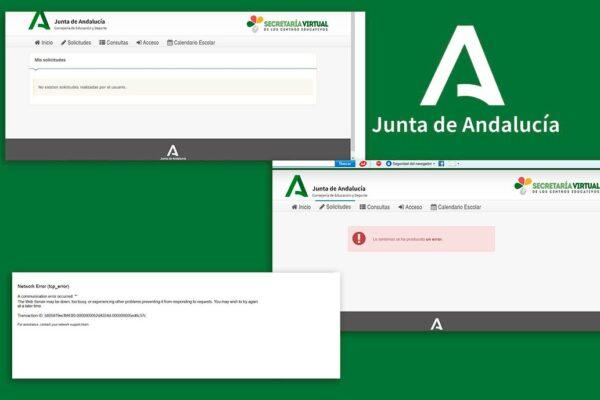 Algunos de los mensajes de error de la página de la secretaría virtual de la Consejería de Educación de la Junta de Andalucía.