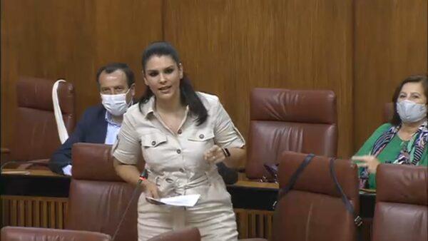 La parlamentaria andaluza del PSOE de Almería Noemí Cruz, durante la pregunta a la consejera de Medio Ambiente
