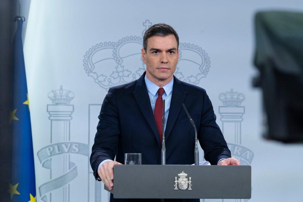 El presidente del Gobierno de España, Pedro Sánchez, en rueda de prensa
