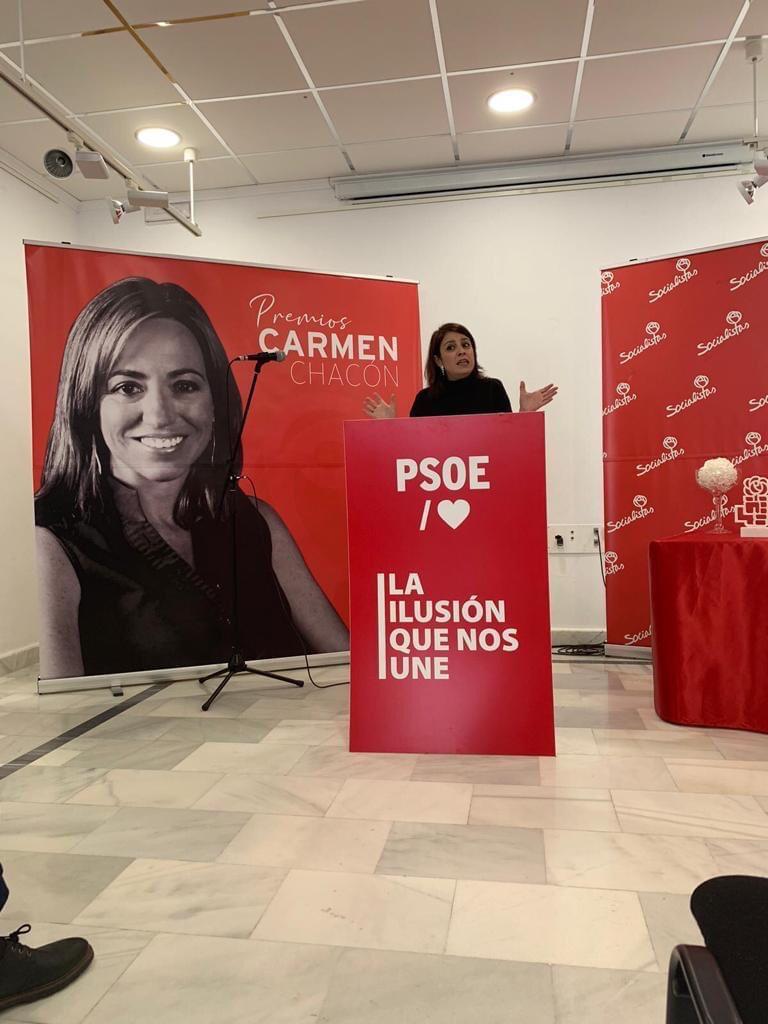 Adriana Lastra en la presentación de los premios Carmen Chacón, en febrero de 2020.