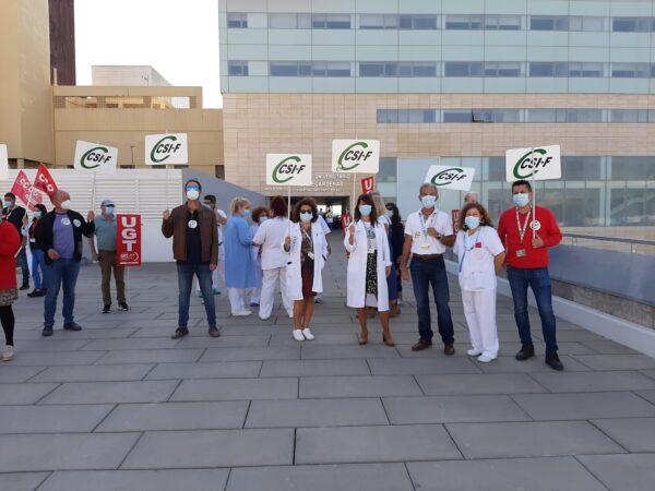 Concentración sindical en el Hospital Torrecárdenas.