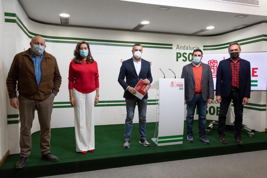Antonio Gutiérrez, Carmen Aguilar, Juan Antonio Lorenzo, Juan Manuel Ruiz y Marcelo López, del PSOE en la Diputación Provincial.