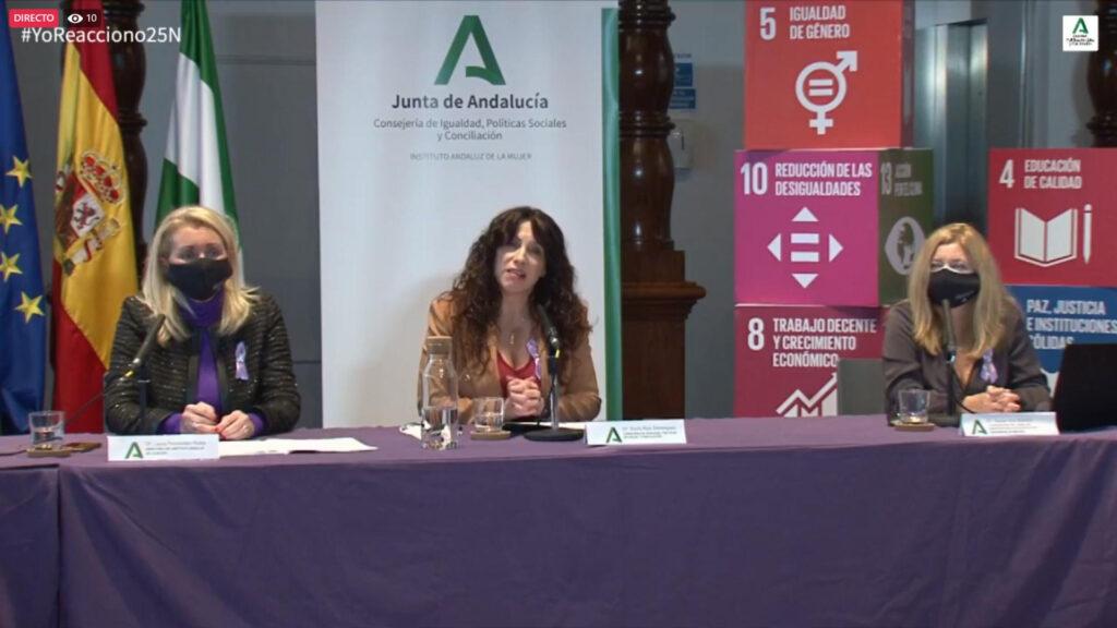 Rocío Ruiz en la presentación del Estudio sobre la percepción y actitudes hacia la violencia de género en Andalucía