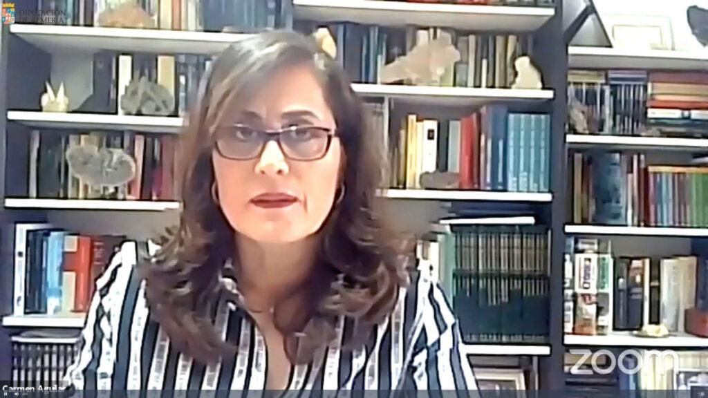 Carmen Aguilar, hoy, en el pleno telemático de la Diputación Provincial
