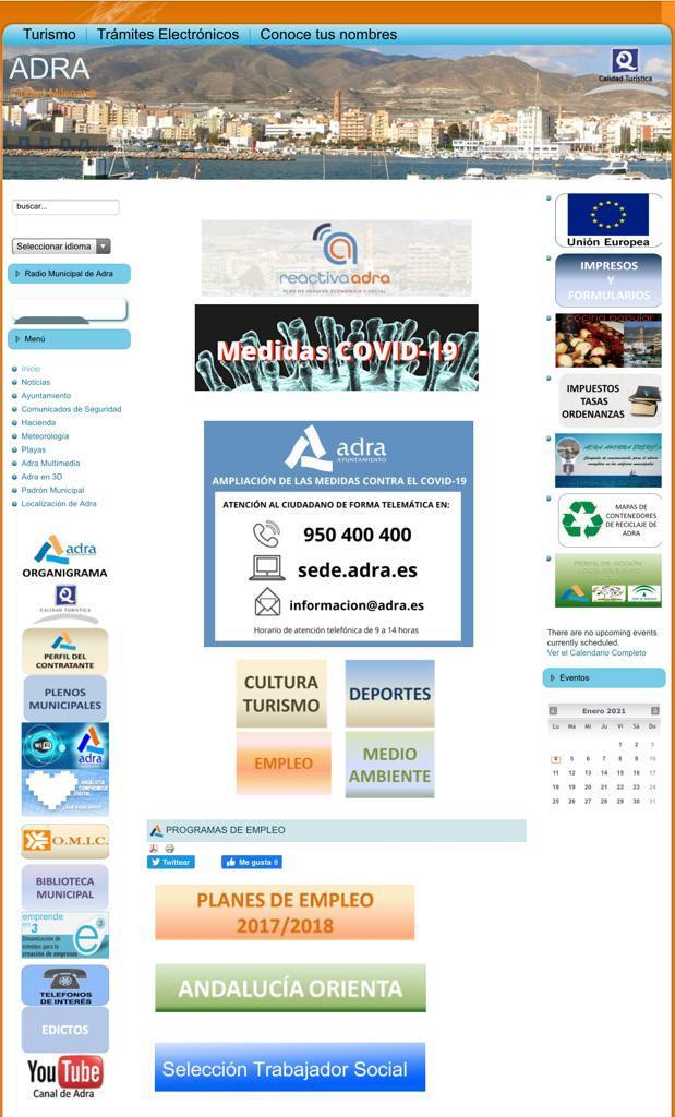 Página web del Ayuntamiento de Adra.