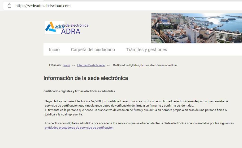 Pantallazo d ela web municipal de Adra