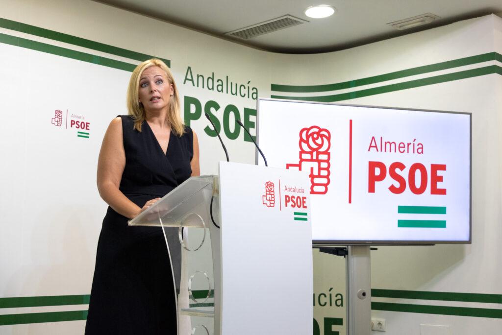 La portavoz del PSOE en el Ayuntamiento de Adra, Teresa Piqueras, en rueda de prensa
