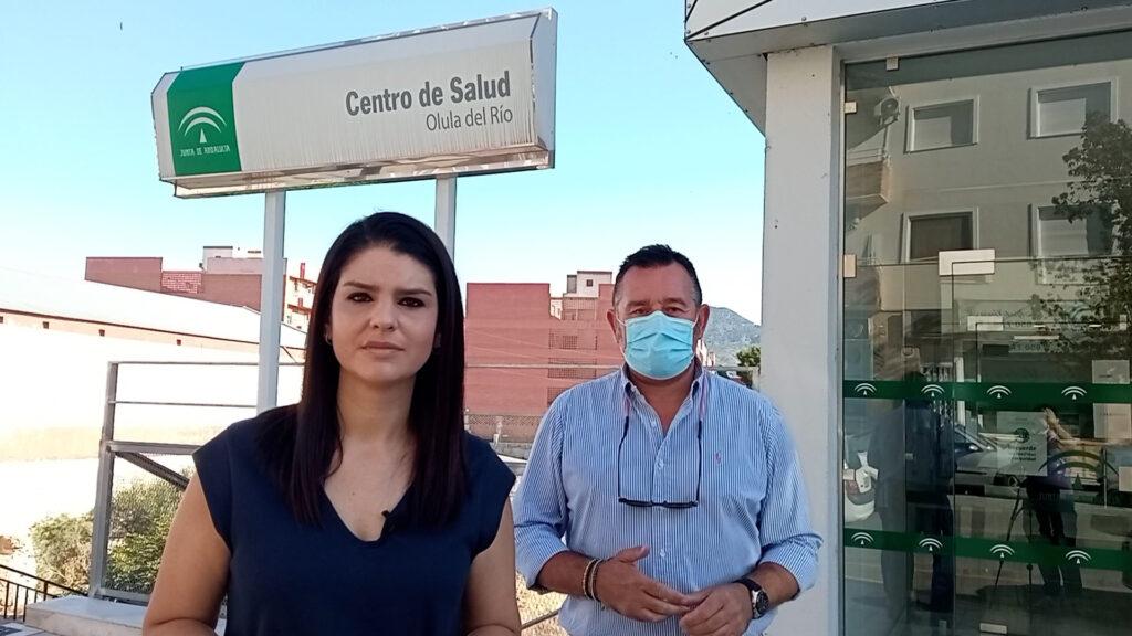 La parlamentaria Noemí Cruz y el portavoz del PSOE en el Ayuntamiento de Olula del Río, Diego Castaño