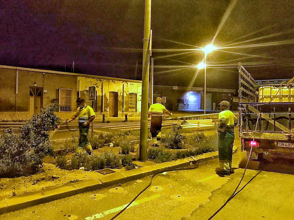 Trabajadores del Ayuntamiento de Adra, empleando fitosanitarios